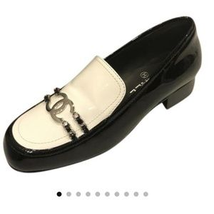 Black White Chanel Mocassins Loafers